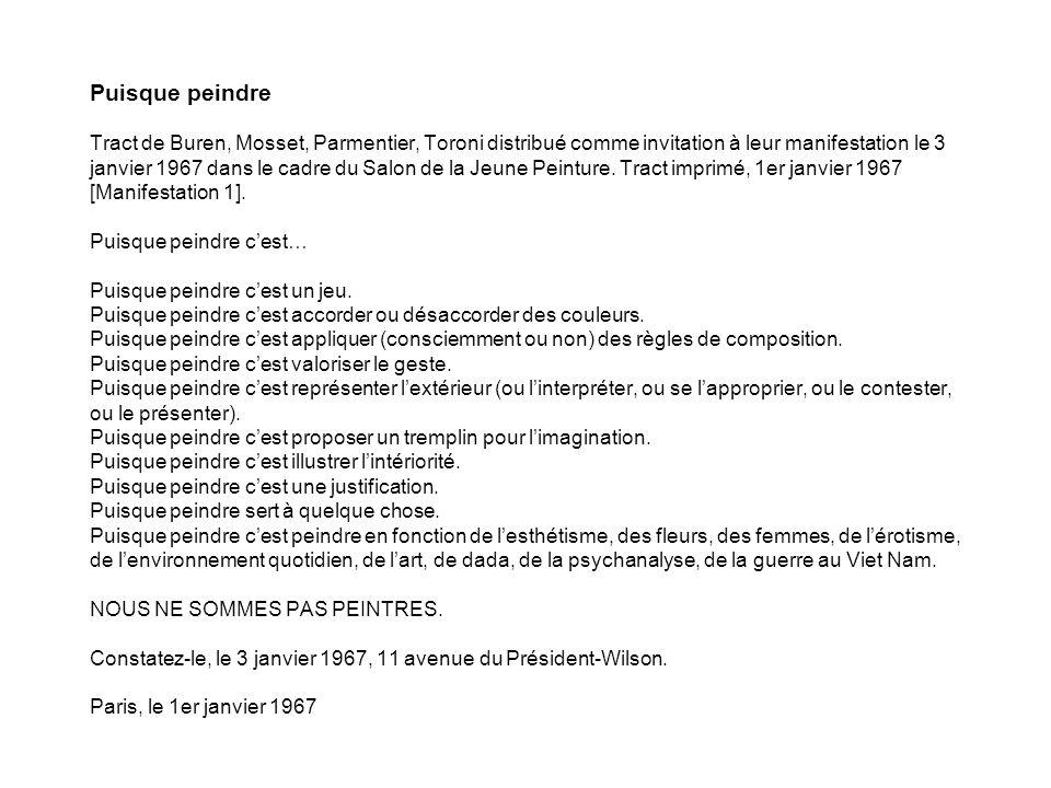 Puisque peindre Tract de Buren, Mosset, Parmentier, Toroni distribué comme invitation à leur manifestation le 3 janvier 1967 dans le cadre du Salon de la Jeune Peinture.