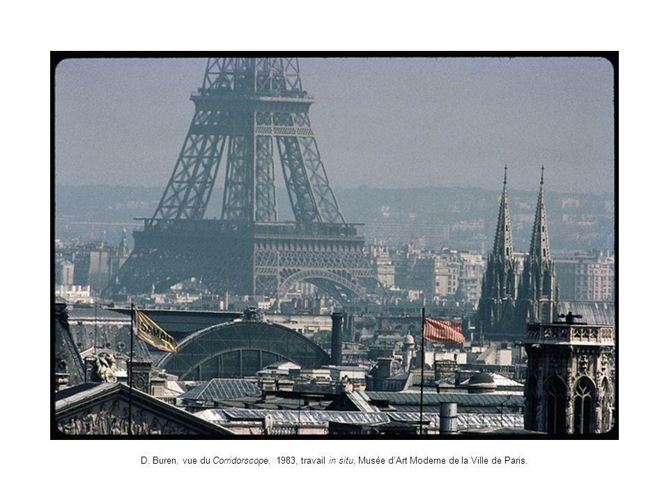 D. Buren, vue du Corridorscope, 1983, travail in situ, Musée d'Art Moderne de la Ville de Paris.