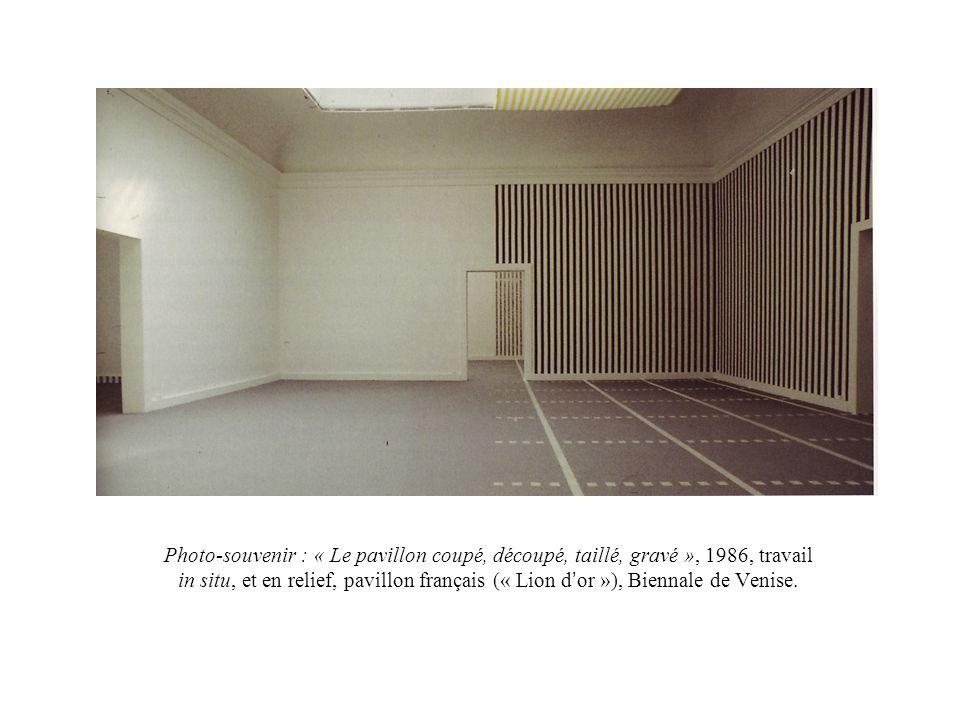Photo-souvenir : « Le pavillon coupé, découpé, taillé, gravé », 1986, travail in situ, et en relief, pavillon français (« Lion d'or »), Biennale de Venise.