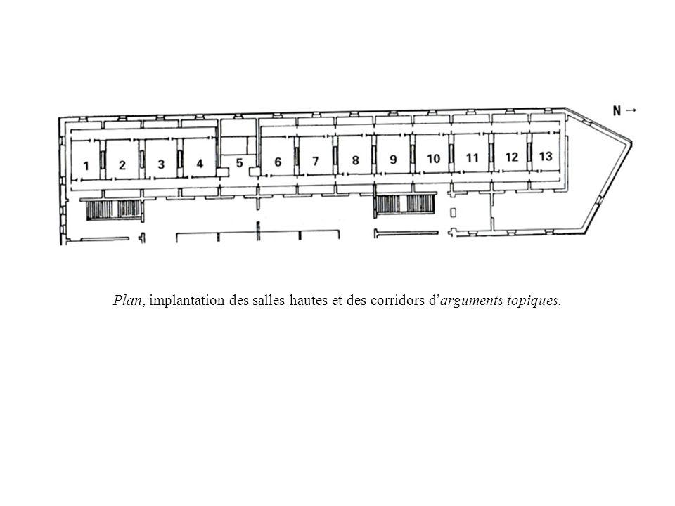 Plan, implantation des salles hautes et des corridors d'arguments topiques.