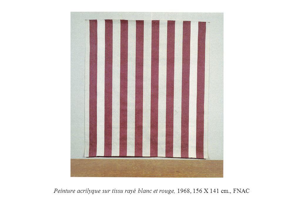 Peinture acrilyque sur tissu rayé blanc et rouge, 1968, 156 X 141 cm