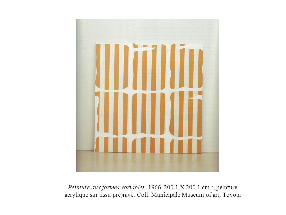 Peinture aux formes variables, 1966, 200,1 X 200,1 cm ;, peinture acrylique sur tissu pré)rayé.