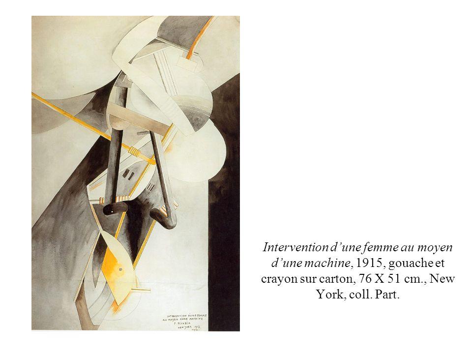 Intervention d'une femme au moyen d'une machine, 1915, gouache et crayon sur carton, 76 X 51 cm., New York, coll.