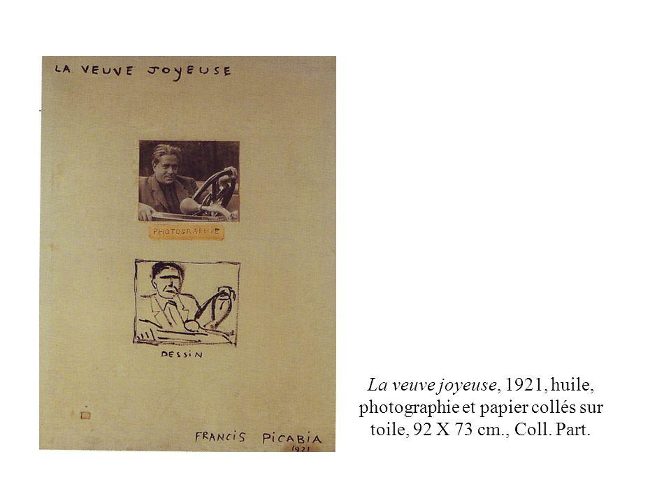La veuve joyeuse, 1921, huile, photographie et papier collés sur toile, 92 X 73 cm., Coll. Part.