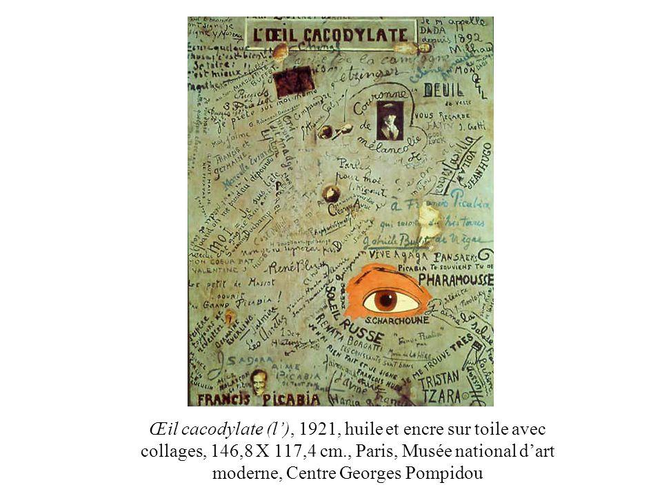 Œil cacodylate (l'), 1921, huile et encre sur toile avec collages, 146,8 X 117,4 cm., Paris, Musée national d'art moderne, Centre Georges Pompidou