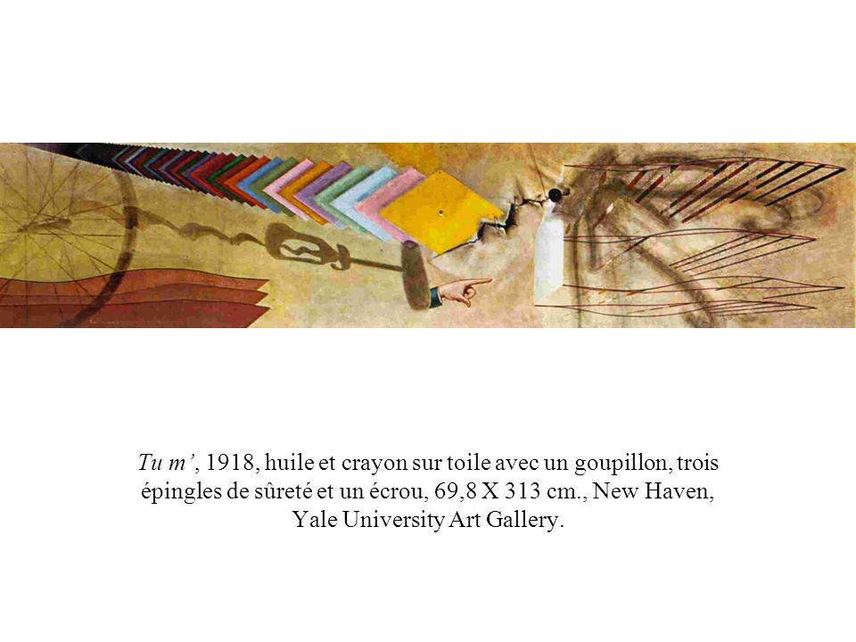 Tu m', 1918, huile et crayon sur toile avec un goupillon, trois épingles de sûreté et un écrou, 69,8 X 313 cm., New Haven, Yale University Art Gallery.