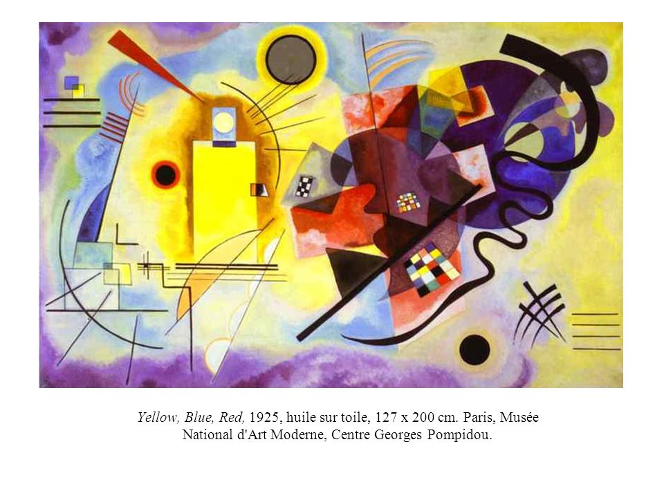 Yellow, Blue, Red, 1925, huile sur toile, 127 x 200 cm