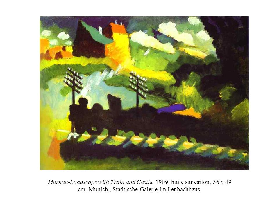 Murnau-Landscape with Train and Castle. 1909. huile sur carton