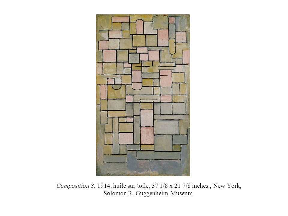 Composition 8, 1914. huile sur toile, 37 1/8 x 21 7/8 inches