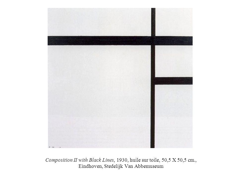 Composition II with Black Lines, 1930, huile sur toile, 50,5 X 50,5 cm