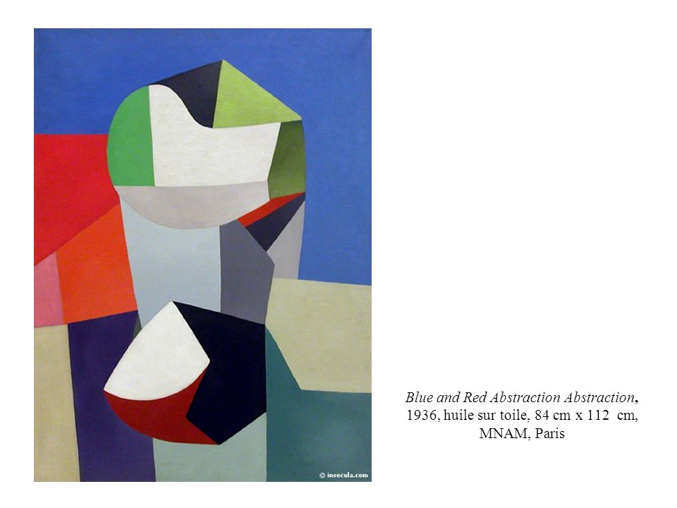 Blue and Red Abstraction Abstraction, 1936, huile sur toile, 84 cm x 112 cm, MNAM, Paris