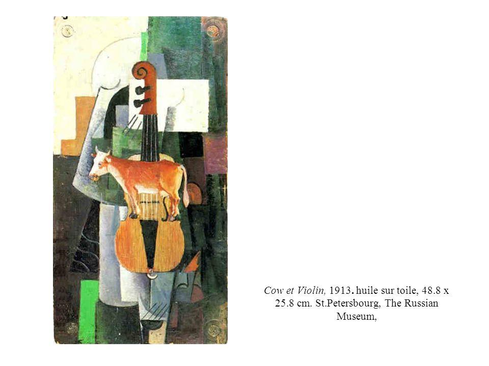 Cow et Violin, 1913. huile sur toile, 48. 8 x 25. 8 cm. St
