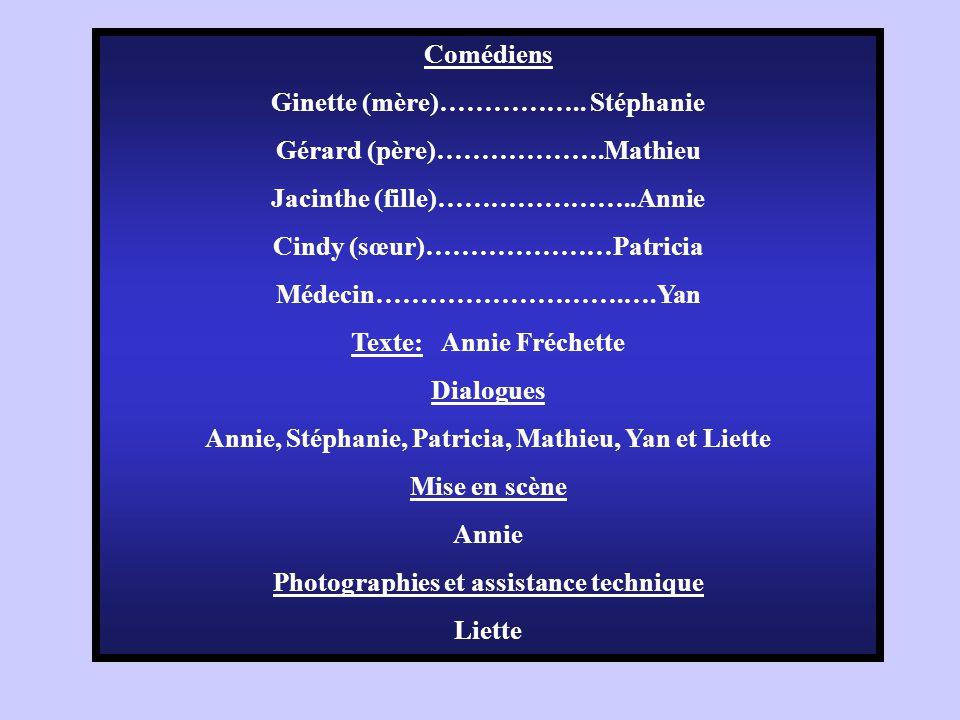 Ginette (mère)…………….. Stéphanie Gérard (père)……………….Mathieu