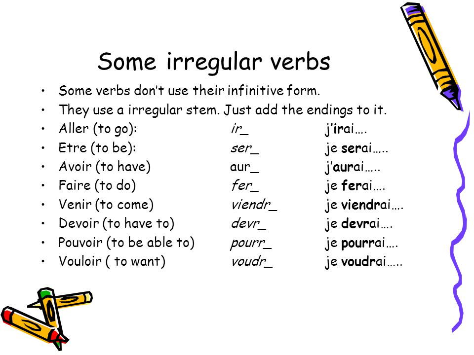 Some irregular verbs Some verbs don't use their infinitive form.