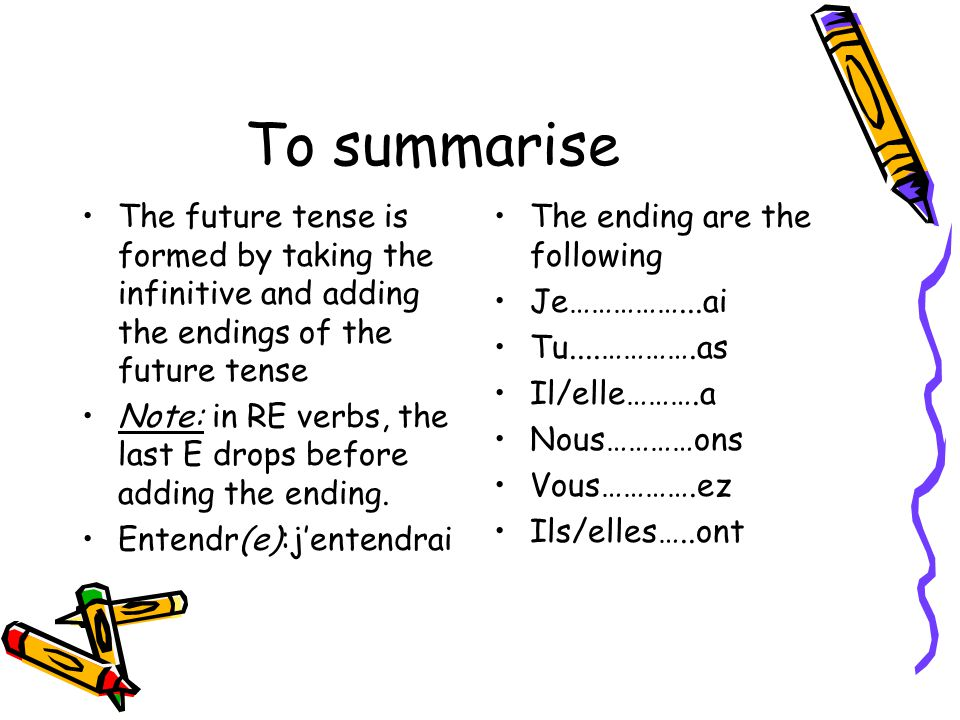 To summarise The future tense is formed by taking the infinitive and adding the endings of the future tense.