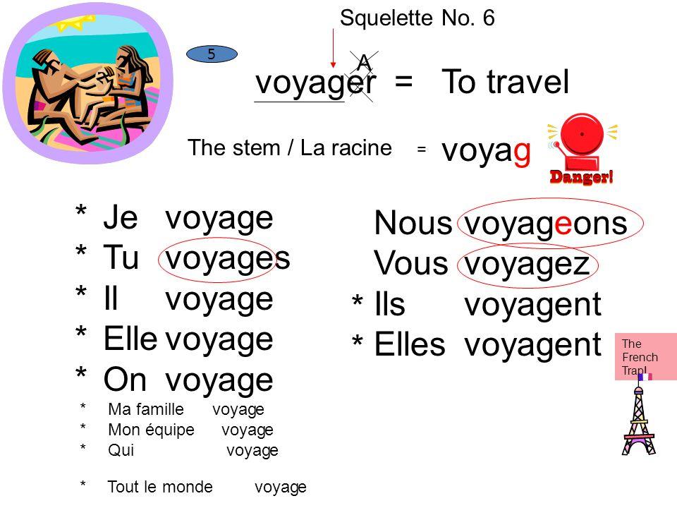 voyager = To travel voyag * Je Tu Il Elle On voyag e es Nous Vous Ils