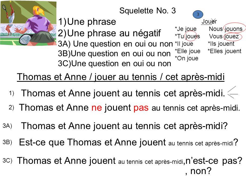 Thomas et Anne / jouer au tennis / cet après-midi