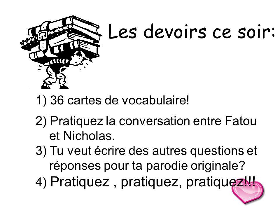 Les devoirs ce soir: 36 cartes de vocabulaire!