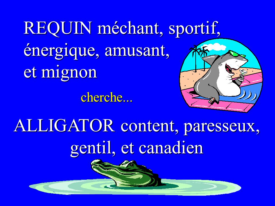ALLIGATOR content, paresseux,