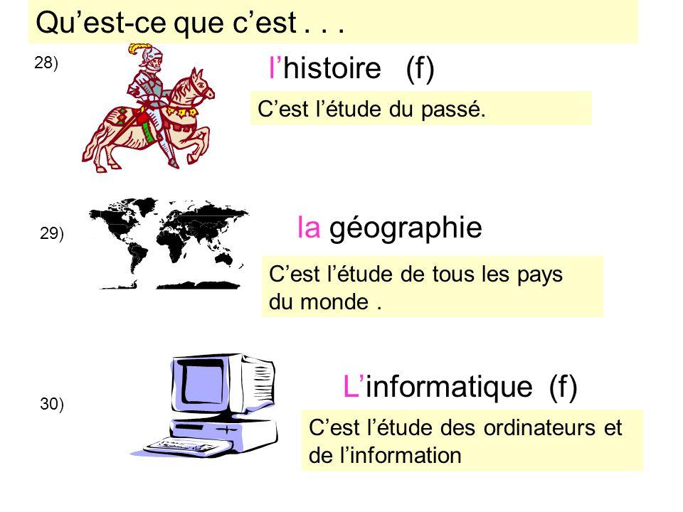 Qu'est-ce que c'est . . . l'histoire (f) la géographie