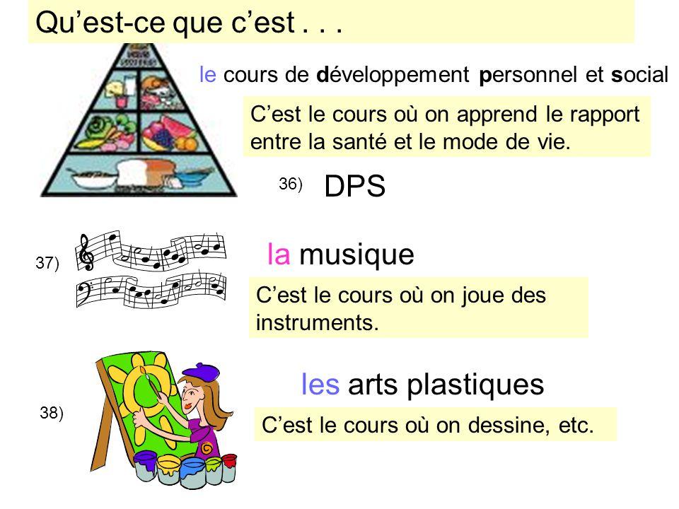 Qu'est-ce que c'est . . . DPS la musique les arts plastiques