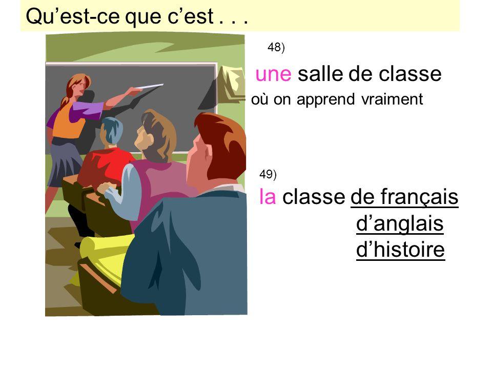 Qu'est-ce que c'est . . . une salle de classe la classe de français