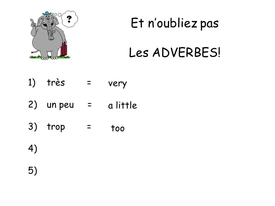 Et n'oubliez pas Les ADVERBES! 1) 2) 3) 4) 5) très = un peu = trop =