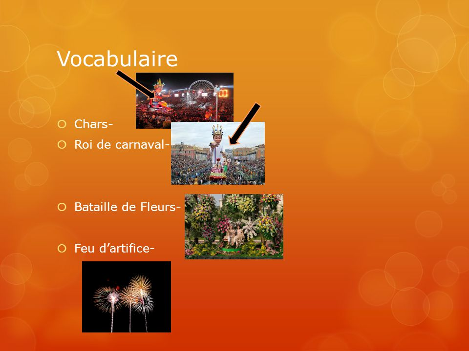 Vocabulaire Chars- Roi de carnaval- Bataille de Fleurs-