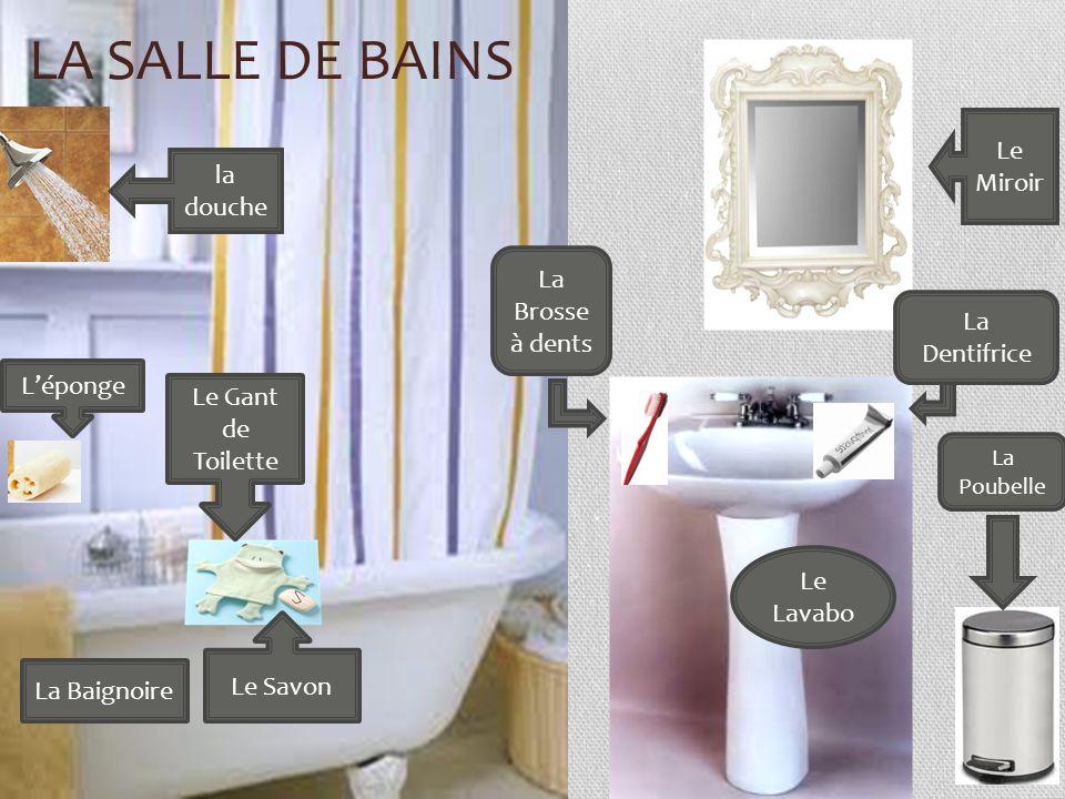 La salle de bains Le Miroir la douche La Brosse à dents La Dentifrice
