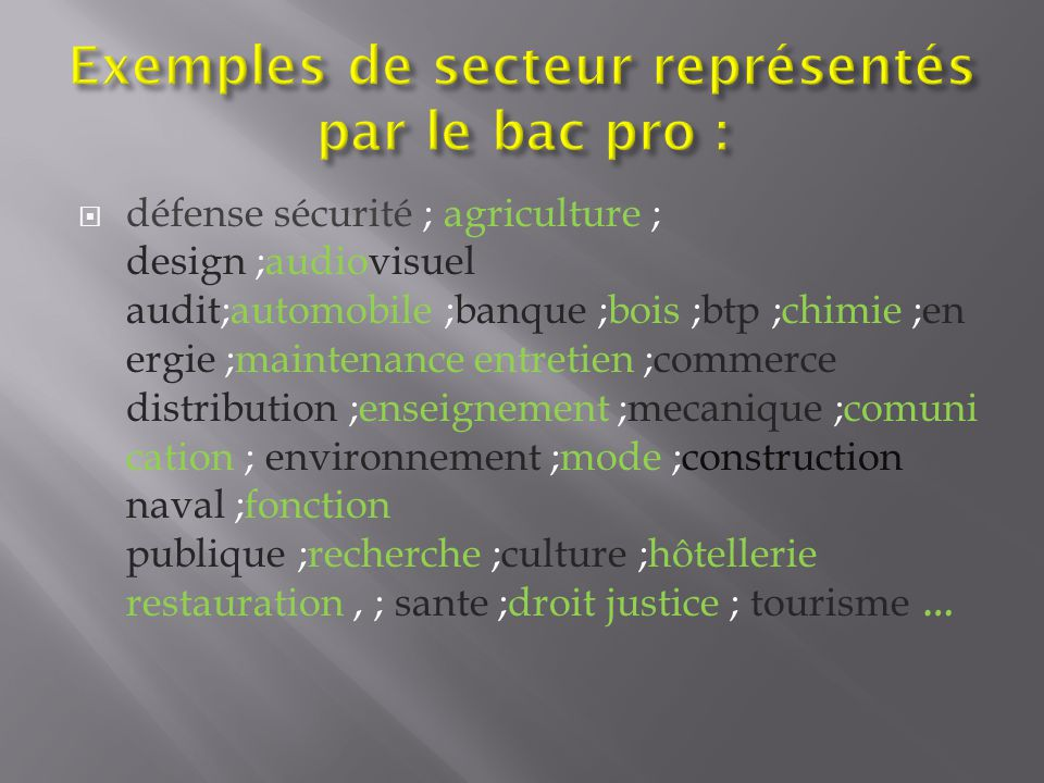 Exemples de secteur représentés par le bac pro :