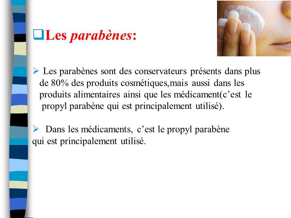 Les parabènes: Les parabènes sont des conservateurs présents dans plus