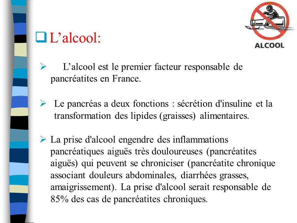 L'alcool: L'alcool est le premier facteur responsable de pancréatites en France.