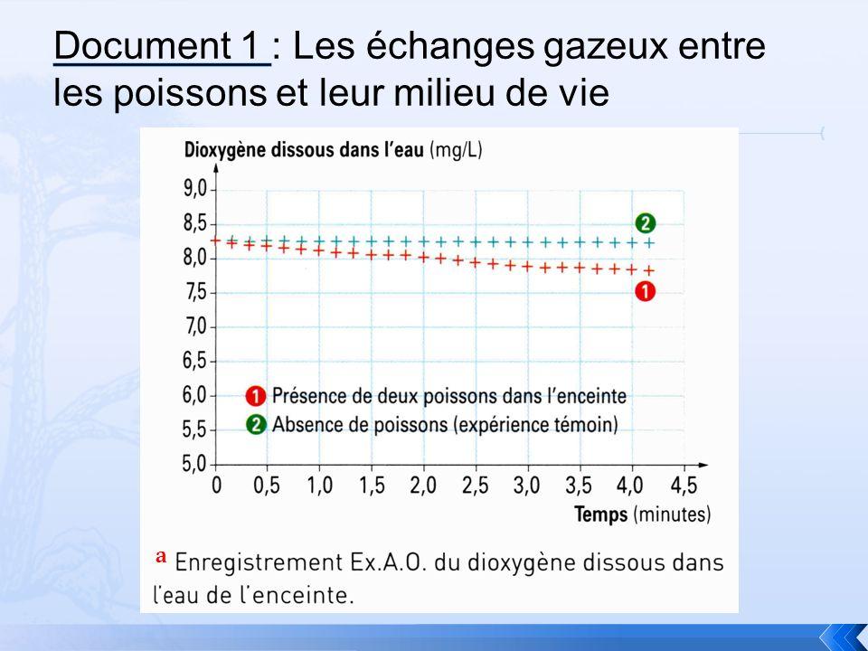 Document 1 : Les échanges gazeux entre les poissons et leur milieu de vie