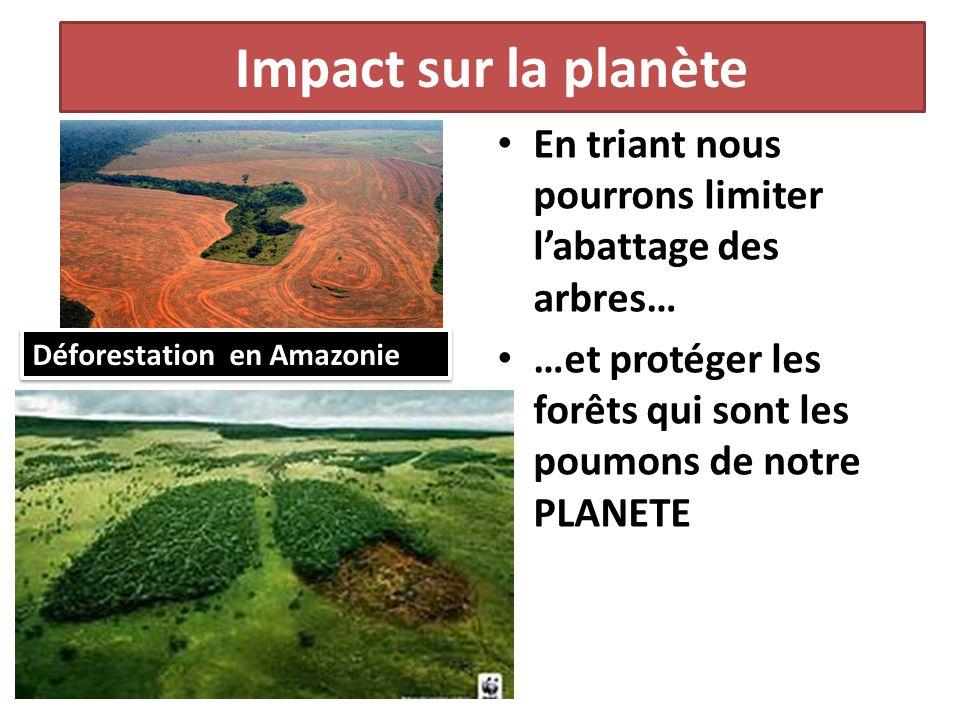 Impact sur la planète En triant nous pourrons limiter l'abattage des arbres… …et protéger les forêts qui sont les poumons de notre PLANETE.