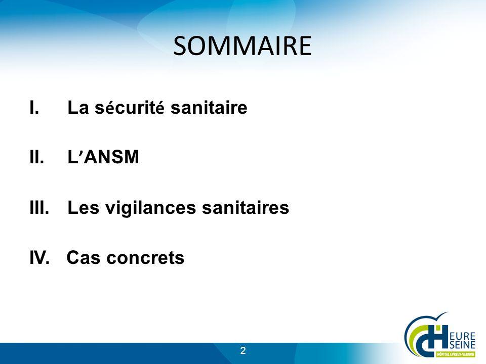 SOMMAIRE La sécurité sanitaire L'ANSM Les vigilances sanitaires