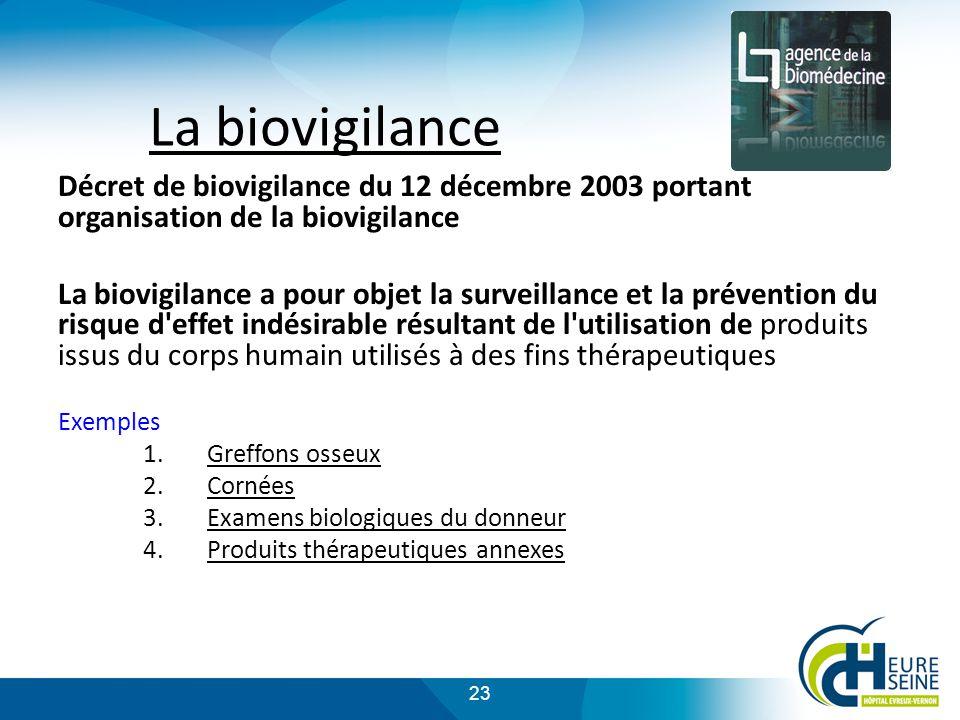 La biovigilance Décret de biovigilance du 12 décembre 2003 portant organisation de la biovigilance.