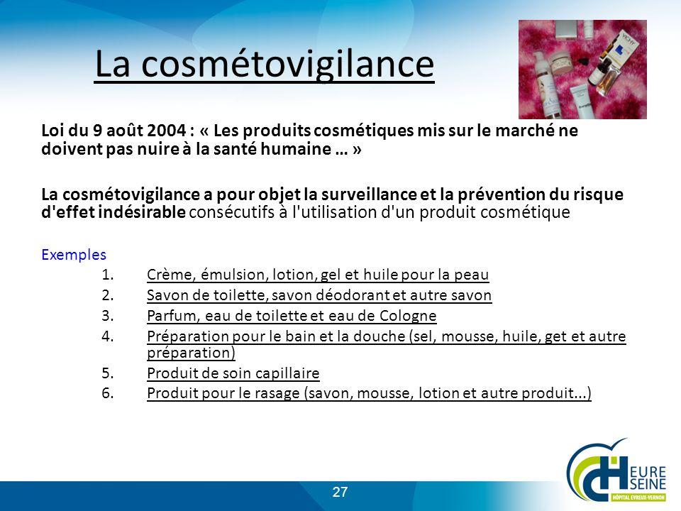 La cosmétovigilance Loi du 9 août 2004 : « Les produits cosmétiques mis sur le marché ne doivent pas nuire à la santé humaine … »