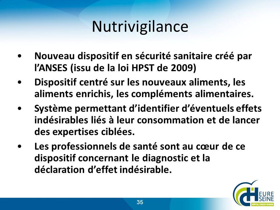 Nutrivigilance Nouveau dispositif en sécurité sanitaire créé par l'ANSES (issu de la loi HPST de 2009)