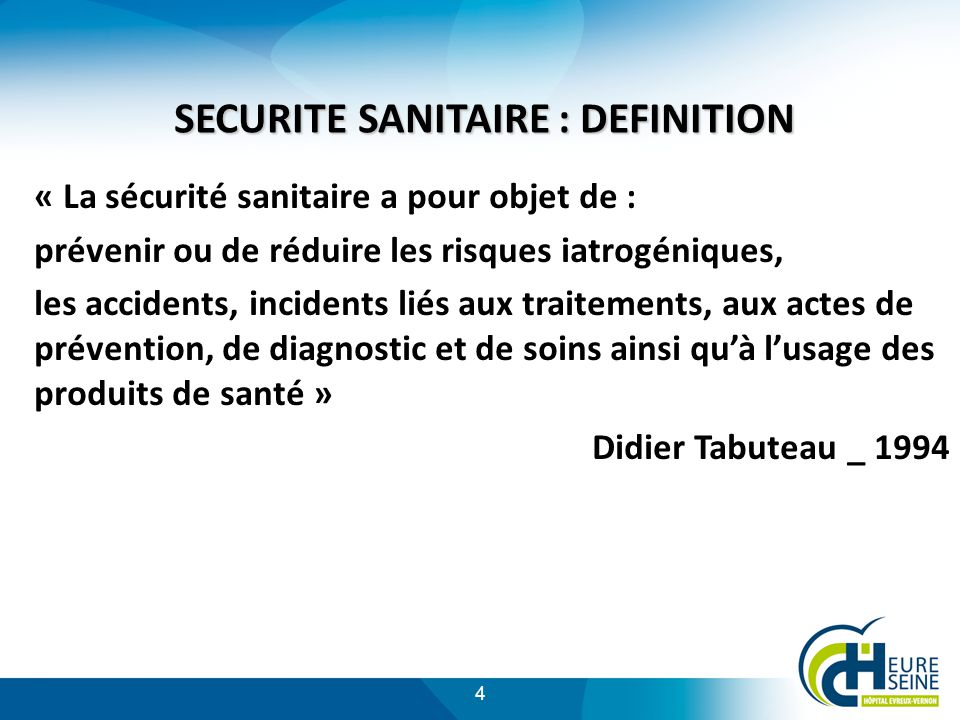 SECURITE SANITAIRE : DEFINITION