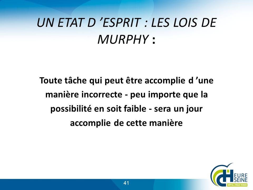 UN ETAT D 'ESPRIT : LES LOIS DE MURPHY :