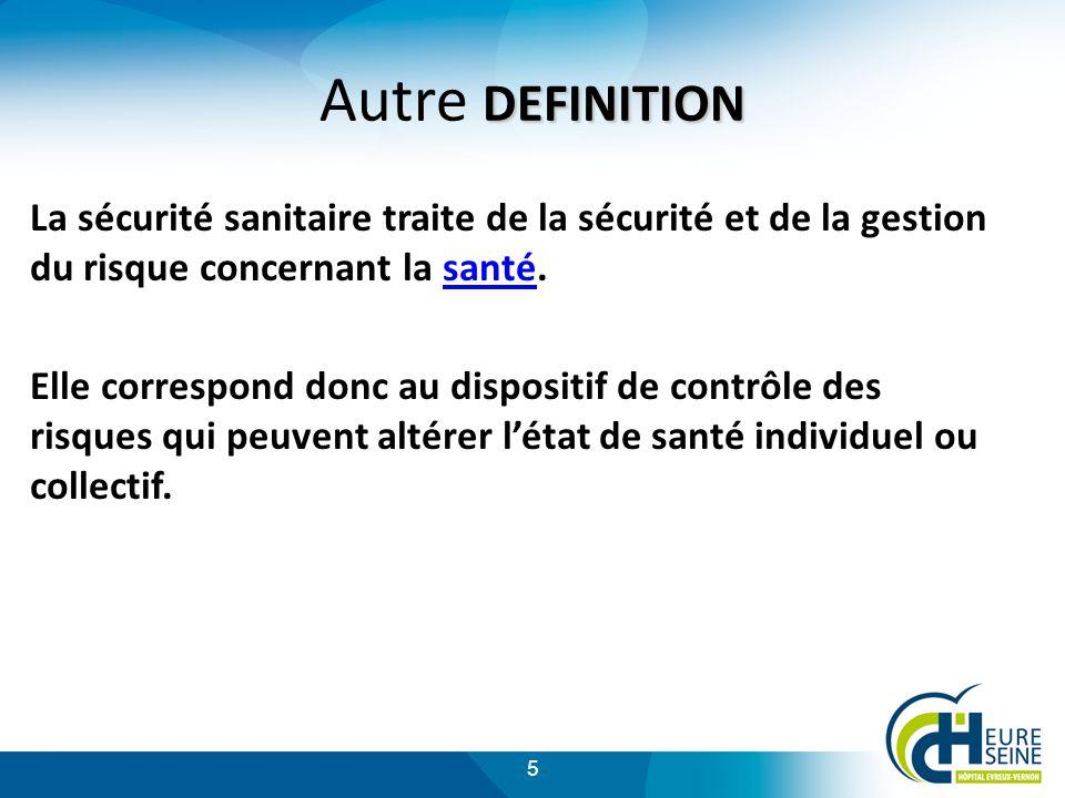 Autre DEFINITION La sécurité sanitaire traite de la sécurité et de la gestion du risque concernant la santé.