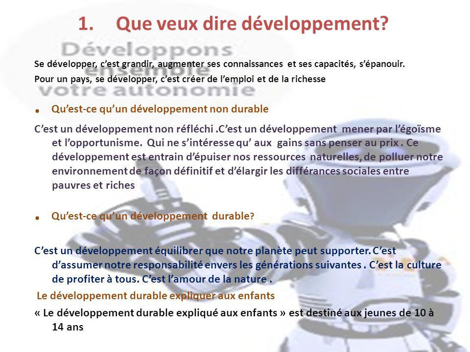 Que veux dire développement