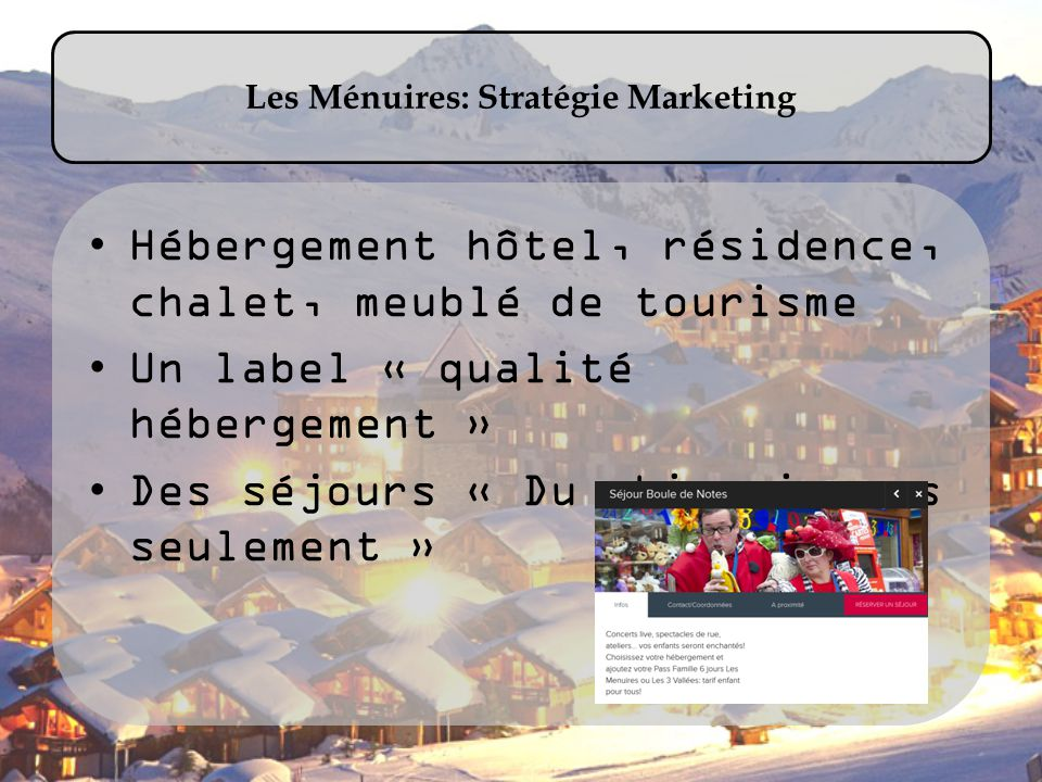 Les Ménuires: Stratégie Marketing