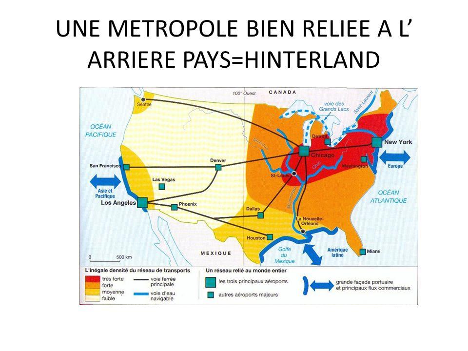 UNE METROPOLE BIEN RELIEE A L' ARRIERE PAYS=HINTERLAND