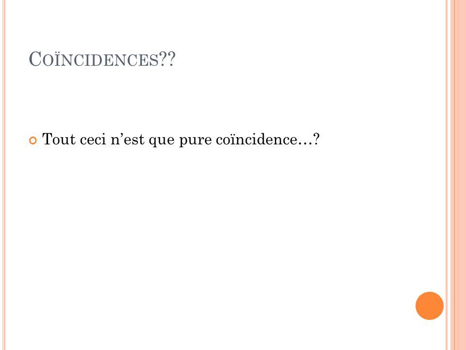 Coïncidences Tout ceci n'est que pure coïncidence…