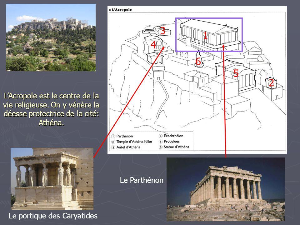 3 1. 4. 6. 5. 2. L'Acropole est le centre de la vie religieuse. On y vénère la déesse protectrice de la cité: Athéna.