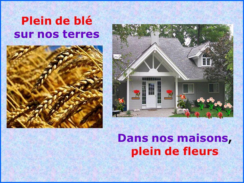 Plein de blé sur nos terres Dans nos maisons, plein de fleurs