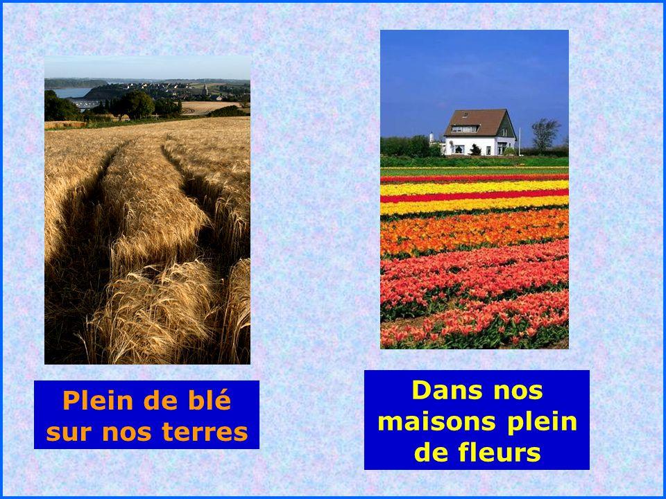 Dans nos maisons plein de fleurs Plein de blé sur nos terres