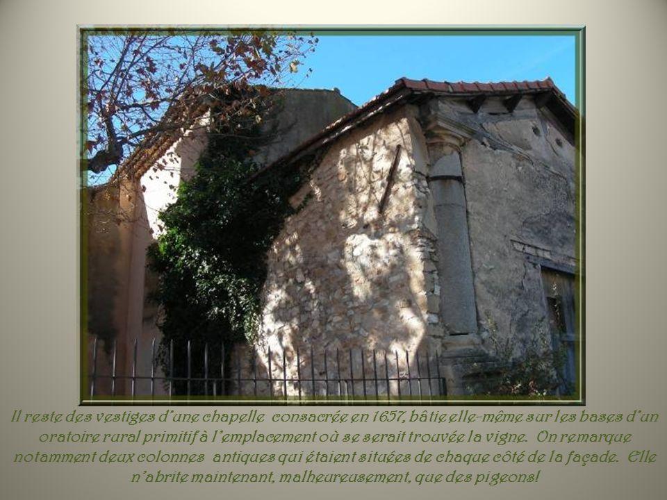 Il reste des vestiges d'une chapelle consacrée en 1657, bâtie elle-même sur les bases d'un oratoire rural primitif à l'emplacement où se serait trouvée la vigne.