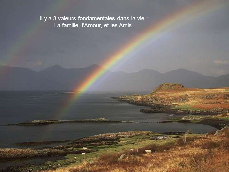 Il y a 3 valeurs fondamentales dans la vie :